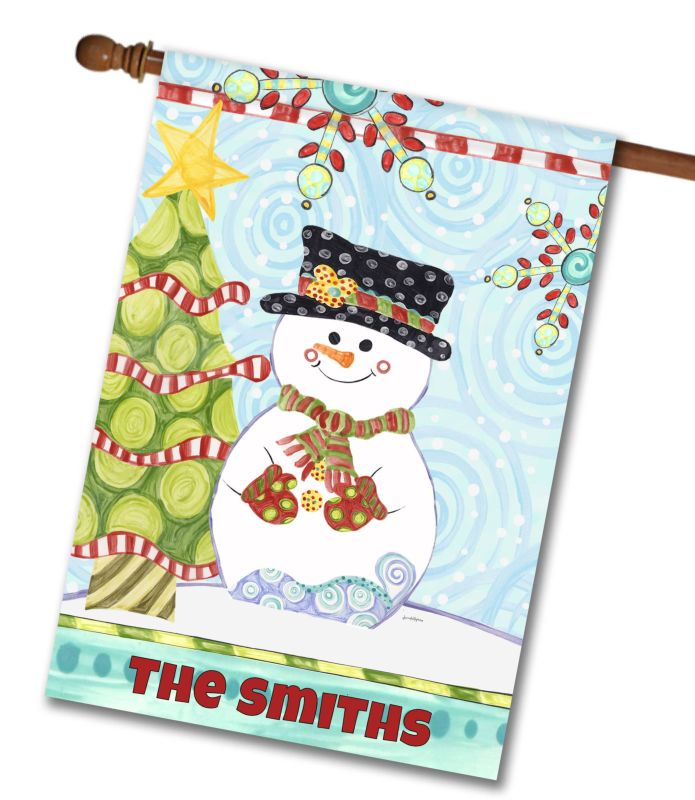 Jolly Christmas Snowman - Personalized House Flag - 28\'\' x 40 ...