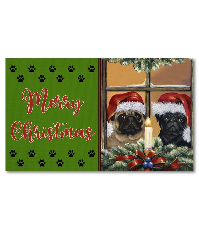 pug anticipation doormat