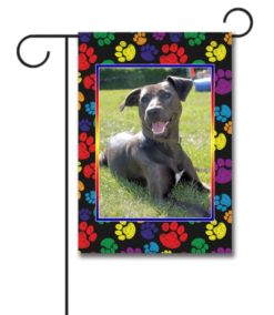 Rainbow Paws Pet Photo Garden Flag