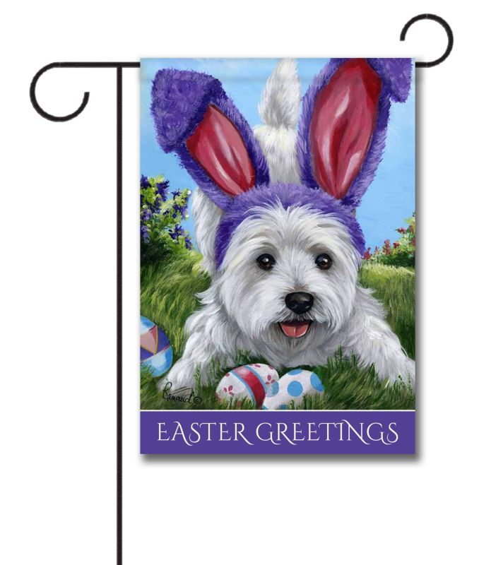 Easter Personalized Westie Garden Flag