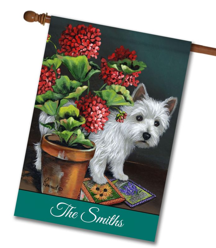 Personalized West Highland Terrier Seedlings House Flag