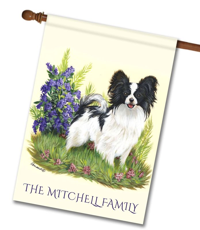 Personalized Papillon Sweet Pea - House Flag - 28