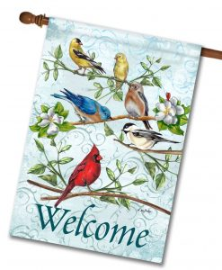 Goldfinch Bluebird Chickadee Cardinal House Flag