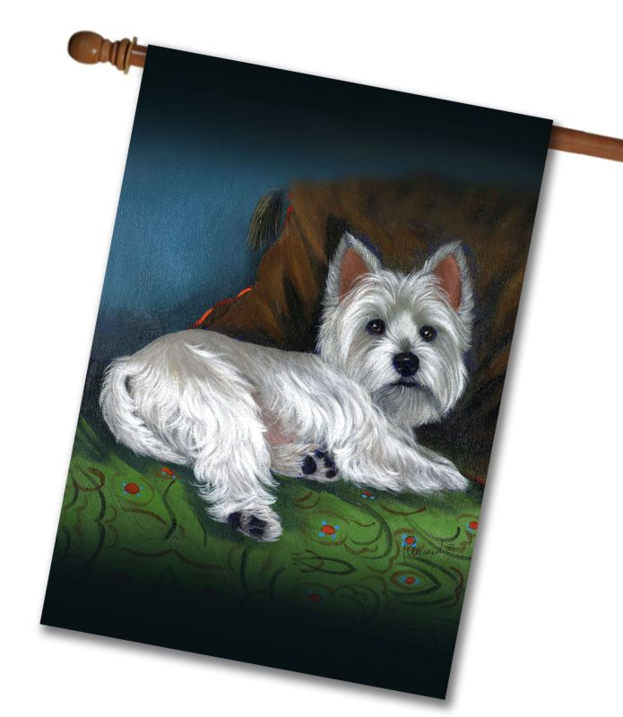 west highland terrier wake up - house flag - 28 u0026 39  u0026 39  x 40 u0026 39  u0026 39