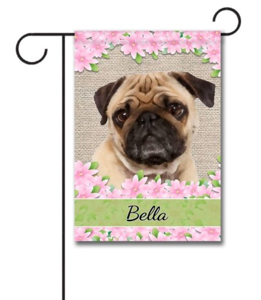 Personalized Floral Pug Garden Flag