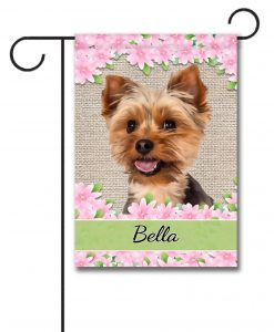 Personalized Floral Yorkie Garden Flag