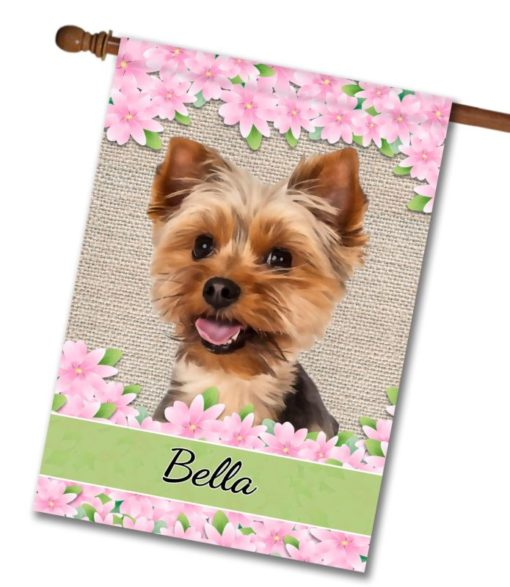Personalized Floral Yorkie House Flag