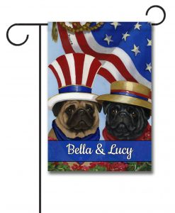 Personalized Patriotic Pug Flag Garden