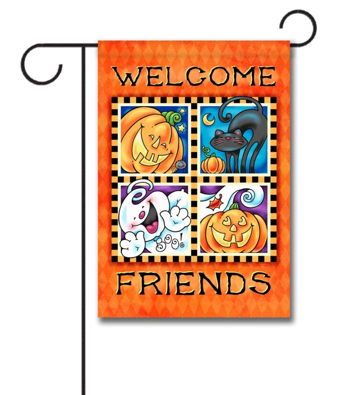 welcome friends halloween - garden flag - 12.5'' x 18'' - custom