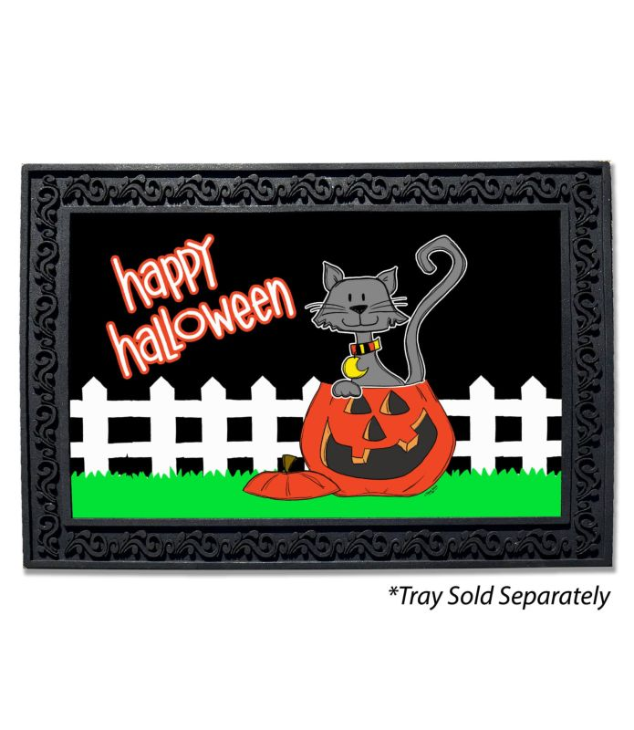 happy halloween cat in pumpkin doormat - custom printed flags