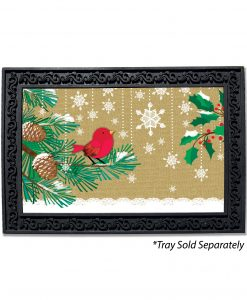 Burlap Red Bird and Snow Doormat