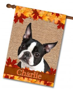 Fall Boston Terrier House Flag