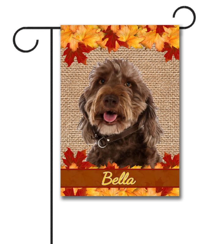 Personalized Fall Leaves Labradoodle - Garden Flag - 12.5\'\' x 18 ...