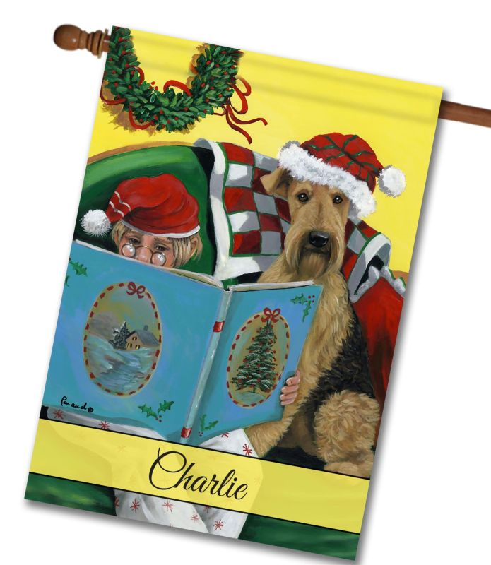 Personalized Airedale Storybook Tails - House Flag - 28'' x 40''