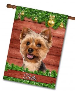 Personalized Christmas Yorkie House Flag
