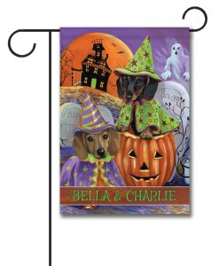Personalized Dachshund Halloween Garden Flag
