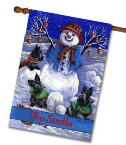 Personalized Snowman Scottie Winter House Flag