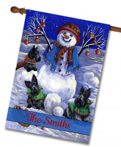 Personalized Snowman Scottie Winter House Flag