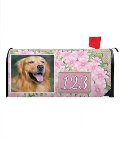 Pink Flowers Personalized Mailbox Cover
