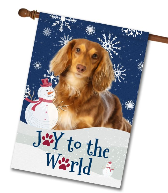 Christmas Snowflakes Brown Long Haired Dachshund House