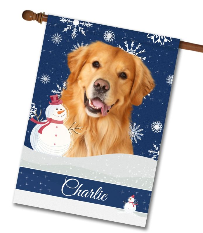 Personalized Christmas Snowflakes Golden Retriever House