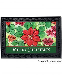 Poinsettia Merry Christmas Doormat