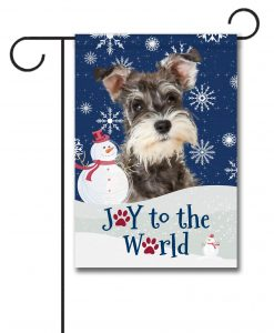 Winter Snowman Miniature Schnauzer Garden Flag