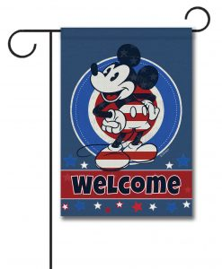 Patriotic Welcome Mickey Mouse Garden Flag