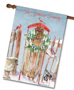 Personalized Antique Sled House Flag
