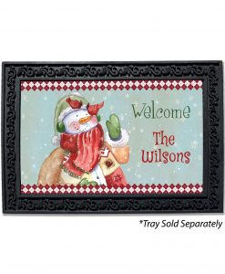 Doormat Personalized Welcome Snowman and Cardinals
