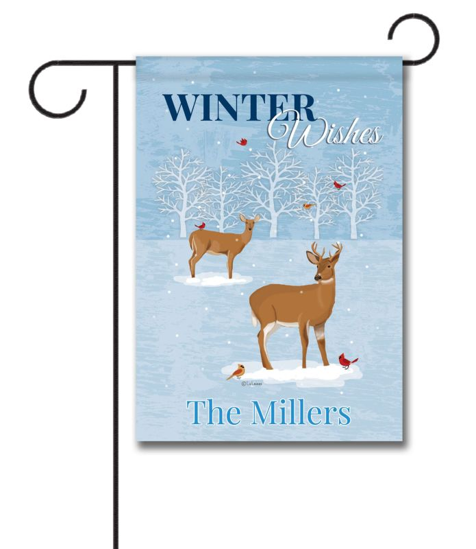 Personalized Winter Deer Garden Flag