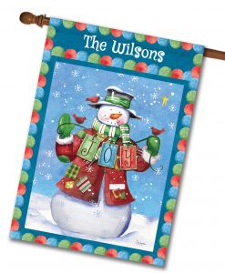Personalized Winter Joy Snowman House Flag