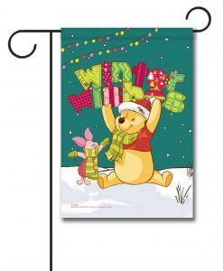 Winnie the Pooh Winter Garden Disney Christmas Flag