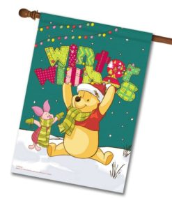 Winnie the Pooh Winter House Disney Christmas Flag
