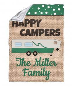 Burlap Fifth Wheel Happy Camper Personalized Blanket