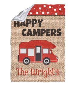 Burlap Happy Camper Personalized Blanket