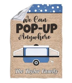 Burlap Pop-Up Camper Personalized Blanket