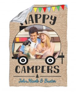 Happy Campers Photo Flag – Blanket