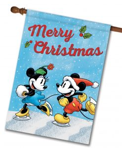 Mickey Mouse Minnie Mouse House Disney Christmas Flag