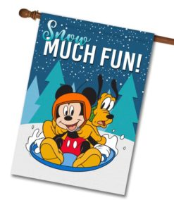 Mickey Mouse Pluto Sledding House Winter Disney Flag