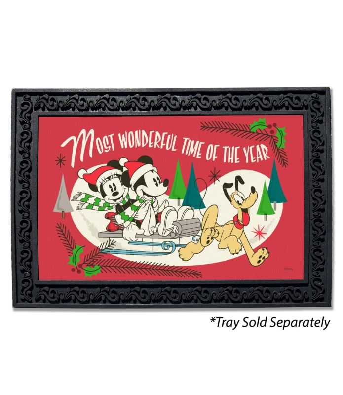 Mickey Mouse Sledding Disney Christmas Doormat
