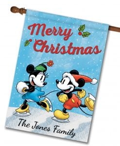 Personalized Mickey Mouse Minnie Mouse Disney Christmas House Flag
