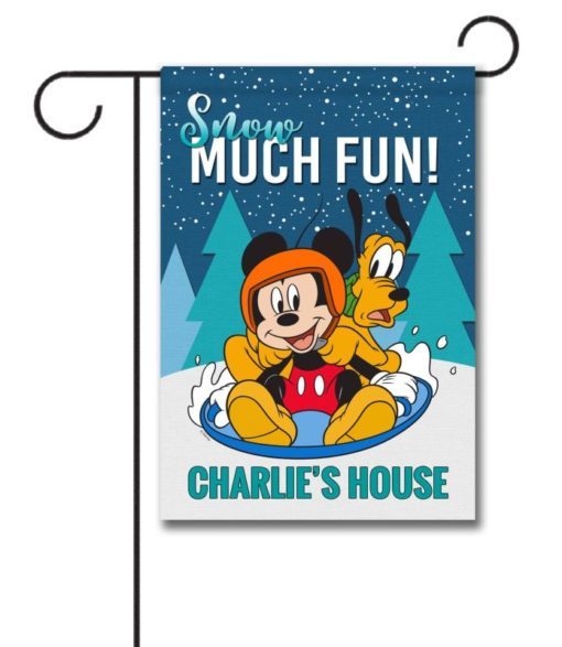 Personalized Mickey Mouse Pluto Sledding Winter Disney Garden Flag