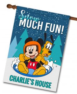 Personalized Mickey Mouse Pluto Sledding Winter Disney House Flag