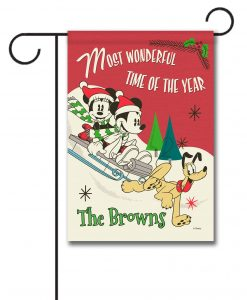 Personalized Mickey Mouse Sledding Disney Christmas Garden Flag
