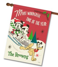 Personalized Mickey Mouse Sledding Disney Christmas House Flag