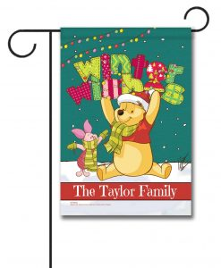 Personalized Winnie the Pooh Winter Disney Christmas Garden Flag