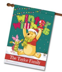 Personalized Winnie the Pooh Winter Disney Christmas House Flag