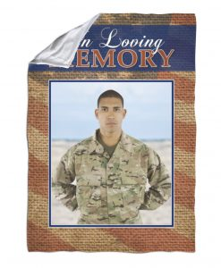Red White & Blue In Loving Memory Burlap – Blanket