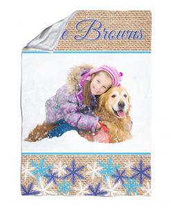 Snowflakes & Burlap – Blanket